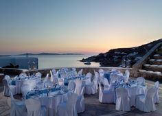 Unique gala dinners at the spectacular stone built outdoor amphitheater of Mykonos Grand Hotel & Resort Mykonos Town, Mykonos Greece, Mykonos Luxury Hotels, Myconos, Mykonos Island, Outdoor Stone, Outdoor Venues, Luxury Holidays, Grand Hotel