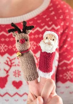 Knit these irresistably cute finger puppets to decorate your home or give as great, festive gifts. The pattern is suitable for knitters of all abilities. Christmas Knitting Patterns, Knitting Patterns Free, Crochet Patterns, Knitted Christmas Decorations, Christmas Toys, Xmas, Knitting Books, Knitting Projects, Finger Knitting