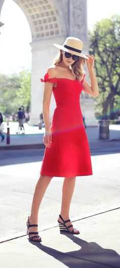 red off-the-shoulder tie shoulder fit and flare a-line knee-length dress, black and white striped wedge sandals, classic boater hat // 30 Dresses in 30 Days Series // j. crew, janessa leone, kate spade