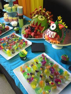 Monster party... colorful jello idea plus gummy? fruit?