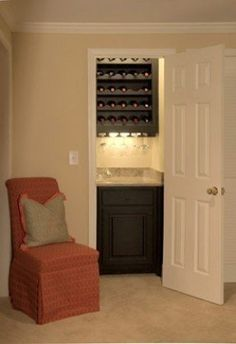 Reach-in closet turned wine nook. Well, this is a great
