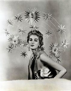 Carmen Dell'Orefice wearing Mr. John's 'Starry Halo' c.1955. [You should Google Carmen's name to see what she's up to now.