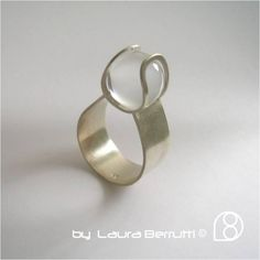 Sterling Ring with Crystal Sphere in Tension by LauraBerrutti