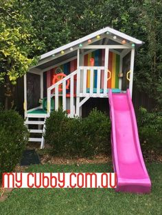 Such gorgeous stripes on this pretty cubby, and a pink slide. The lights are a perfect touch! Kids Outdoor Play, Outdoor Play Areas, Kids Play Area, Backyard For Kids, Backyard Projects, Cubby House Kits, Cubby Houses, Play Houses, Backyard Playhouse