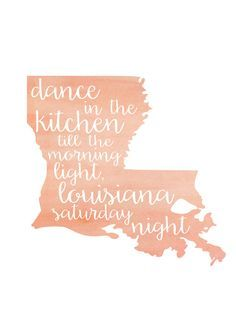 Louisiana Watercolor Print by lovelyofferings on Etsy Gift to myself! Louisiana Kitchen, Louisiana Art, Louisiana Homes, New Orleans Louisiana, Vinyl Crafts, Vinyl Projects, Dancing In The Kitchen, Down South, Silhouette Projects