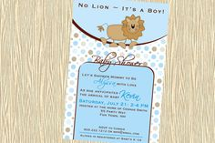Baby Shower Invitation Lion Printable  by AsYouWishCreations4u, $12.00