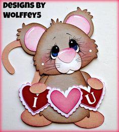 ELITE4U LOVE MICE  paper piecing premade scrapbook page album mat set  WOLFFEY5