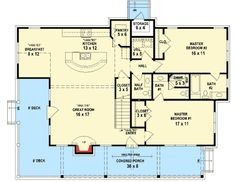 from Architectural Design  Plan W58551SV:   2/3 Master Bedrooms   2/3 bathrooms          1532 sq ft.   Farmhouse style