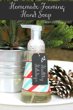 Give the gift of health this holiday season with this homemade foaming hand soap using Young Living's Thieves essential oil - it's easier than you think! {includes video tutorial} | www.allthingsgd.com