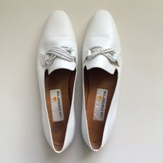 New Vintage Liz Claiborne 8N Smoking Slippers Flats Braided White Leather Brazil | eBay