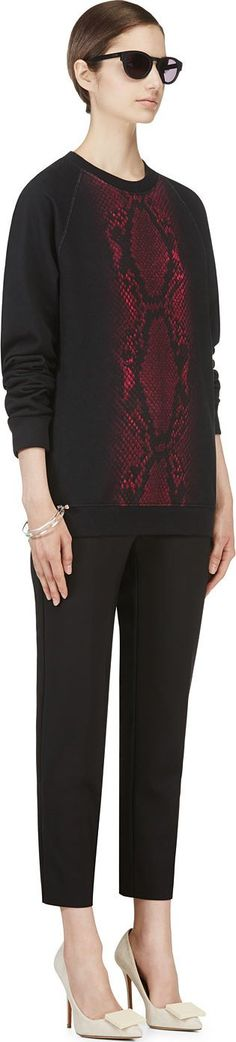 Christopher Kane: Black Snakeskin Graphic Sweatshirt