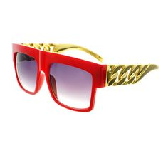 fd9fe1caad Gold Bling Celebrity Fashion Style Large Square Flat Top Sunglasses FT73
