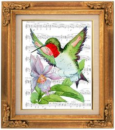 A Floral Fantasy, Bird Children, Hummingbird, Victorian Giclee, Sheet Music Art, Book Art, Dorm Room, Wall Decor, Fantasy Wall Art, Nursery