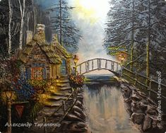 Картина панно рисунок Поделка изделие Лепка Роспись Картина-барельеф  Домик в лесу Гипс