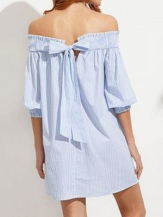 Shop Blue Striped Bow Back Off The Shoulder Dress online. SheIn offers Blue Striped Bow Back Off The Shoulder Dress & more to fit your fashionable needs. Prom Dresses Blue, Sexy Dresses, Cute Dresses, Shift Dresses, Beach Dresses, Half Sleeve Dresses, Beachwear For Women, Striped Dress, Casual