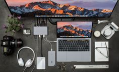 """HyperDrive Ultimate USB-C Hub with 11 Ports! Connect anything to any USB-C device! — The ultimate 11-in-1 USB-C hub with every port you can imagine in a compact package with built-in USB-C cable. Turns a single USB-C connection into 11 ports (USB-C with power delivery, VGA, 4K HDMI, 4K Mini DisplayPort, Gigabit Ethernet, 3 x USB 3.1, SD, microSD, audio jack). Aluminum enclosure with built- in 170mm/6.7"""" flexible USB-C connector cable, available in the same (Space Gray or Silver) color"""
