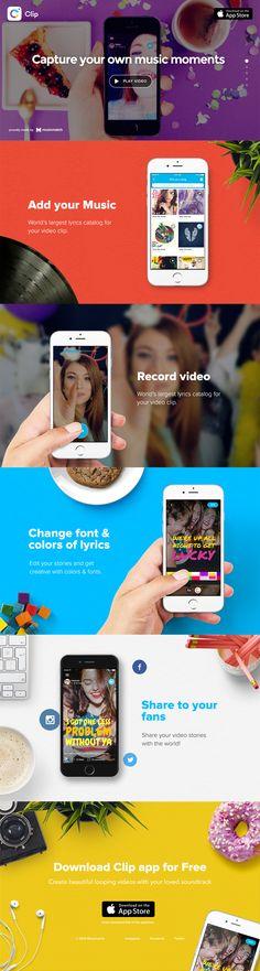 Clip app - This app is so nicely designed! I love the way the app designers presented it. The design looks colorful, fun, and unique, just like how the app hopes to be. This is just the homepage of the app but it makes it look like such a cool app that is relatively easy to use. The pictures, fonts, and colors work together to create a lasting impression on everyone who sees it and making the product appealing to the consumer.