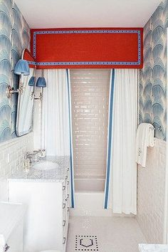 Quirky Home Decor Dissecting the Details: M M Interior Design bath: red valance white blue/white wallcovering.Quirky Home Decor Dissecting the Details: M M Interior Design bath: red valance white blue/white wallcovering Bad Inspiration, Bathroom Inspiration, Bathroom Interior Design, Decor Interior Design, Illinois, Bathroom Red, Hall Bathroom, Charcoal Bathroom, Bathroom Ideas