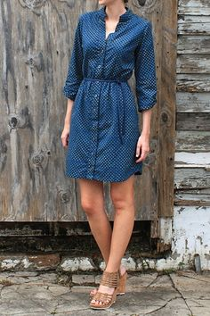 Polka Dot Button Up Shirt Dress by Passion Lilie