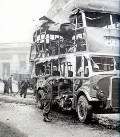 The night of December 1940 saw Bristol's second 'Blitz' - This Bristol double-decker bus was badly damaged during this raid. Bristol England, Old London, London Bus, Man Of War, The Blitz, City Of Bristol, British History, Uk History, Battle Of Britain