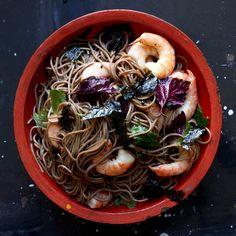 Soba Salad with Shrimp, Shiso, and Nori - Bon Appétit Tagine Recipes, Shellfish Recipes, Seafood Recipes, Surimi Recipes, Endive Recipes, Gnocchi Recipes, Salad Recipes, Tostadas, Sesame Noodles