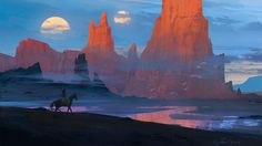 Desert With to Moons, Raphael Lacoste on ArtStation at https://www.artstation.com/artwork/POvYr