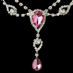 Silver Clear & Pink Rhinestone Necklace & Earrings Bridal Jewelry Set 12054