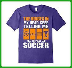Mens The Voices In My Head Keep Telling Me To Play Soccer T-Shirt Large Purple - Sports shirts (*Amazon Partner-Link)
