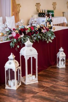 Wedding winter reception events 42 Ideas for 2019 Head Table Wedding Decorations, Wedding Table Themes, Gift Table Wedding, Wedding Reception Backdrop, Rustic Wedding Centerpieces, Reception Table, Reception Ideas, Wedding Cake, Burgundy Wedding