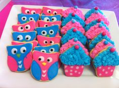 Owl and cupcake cookies for my girls' birthday party