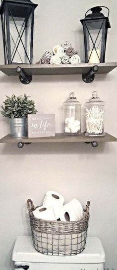 This Industrial Farmhouse Bathroom is the perfect blend of styles and creates such a cozy atmosphere! This Industrial Farmhouse Bathroom is the perfect blend of styles and creates such a cozy atmosphere! Downstairs Bathroom, Bathroom Small, Bathroom Storage, Bathroom Closet, Bathroom Cabinets, Storage Mirror, Bathroom Furniture, Toilet Storage, Bathroom Toilets