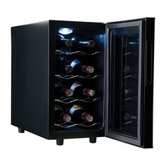The ideal gift for your favorite wine connoisseur. This wine fridge keeps a set of up to eight bottles perfectly chilled and readily accessible. Its double-pane insulated glass door is topped by an adjustable digital thermostat with a blue LCD light display that controls an ultra-quiet thermoelectric cooling system and manual defrost.
