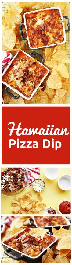 An easy to make party dip that tastes just like Hawaiian pizza! This dip is filled with flavors like bacon, Canadian bacon, pineapple and jalapeño and makes a great appetizer or game day snack. Appetizer Dips, Appetizer Recipes, Holiday Appetizers, Yummy Appetizers, Dip Recipes, Cooking Recipes, Pizza Recipes, Recipies, Good Food