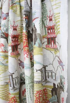 Custom Curtains or Drapes, oriental toile print by Robert Allen, coral pink, aqua, jade, celery heart yellow, aqua, taupe and cream