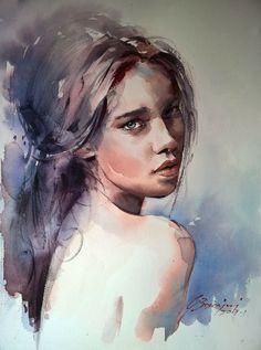 y Marcos Beccari Watercolor Art Face, Watercolor Portraits, Watercolor Paintings, Watercolor Trees, Watercolor Landscape, Abstract Paintings, Oil Paintings, Portrait Art, Face Art