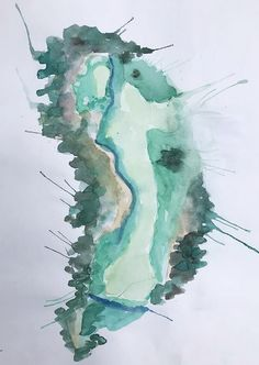 "Original 8x10"" Watercolor of Hole 13 Augusta National Golf Club; Azalea"