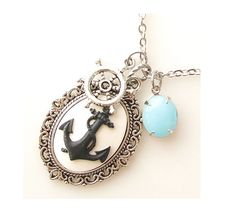 anchor necklace nautical jewelry necklace, cameo necklace, long necklace, beach sea ocean jewelry silver necklace. $34.00, via Etsy.