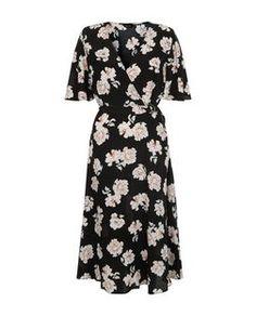 Black Floral Print Wrap Front Midi Dress  | New Look