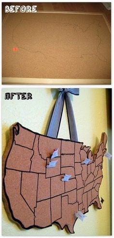 Make your own cork board map to track all the places you have been to!