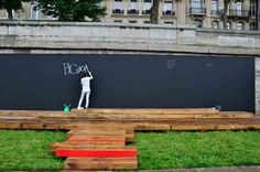 Garden chalkboard: We could draw plants and animals and write messages, just like Jamie Oliver's recipes.