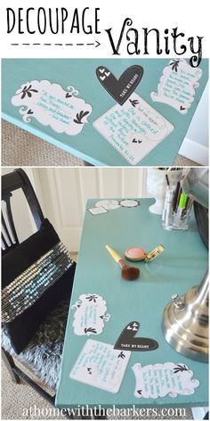 Decoupage Vanity for teen girl with inspiring and funny quotes! Mod Podge and Annie Sloan Chalk paint makeover.