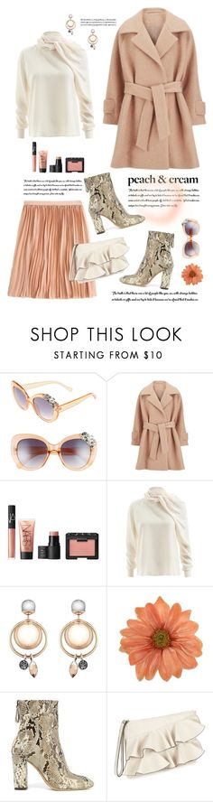 """""""Peaches and Cream"""" by shortyluv718 on Polyvore featuring BP., 2NDDAY, NARS Cosmetics, WtR, NOVICA, Alexandre Birman, Miss Selfridge, booties, pleatedskirts and ruffles"""