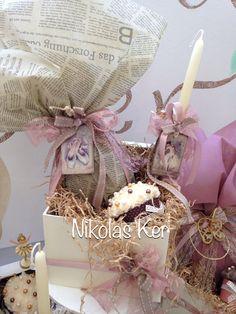 Πασχαλινό κουτί με μπαλαρίνες! Περιέχει σοκολατένιο αυγό & λαμπάδα. www.nikolas-ker.gr Handmade by Nikolas Ker Easter Ideas, Easter Crafts, Gift Wrapping, Candles, Flowers, Handmade, Gifts, Globes, Hampers