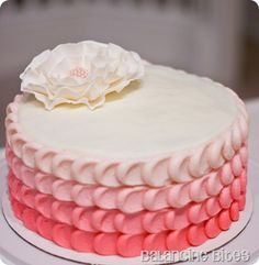 ombre pink petal cake with gumpaste ruffle flower