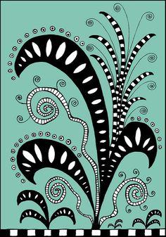 Fantasy Garden by PRaile Zentangle Drawings, Doodles Zentangles, Doodle Drawings, Doodle Designs, Doodle Patterns, Zentangle Patterns, Tangle Doodle, Zen Doodle, Doodle Art