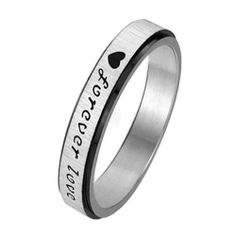 """316l Stainless Steel """"Forever Love"""" Engraved Couple Rings Mens Ladies Band for Engagement, Promise, Eternity Jewelrywe. $8.99. Weight: 4g for male; 3g for female. ¡±Forever Love¡± Engraved outside. Stainless steel rings for couples/lovers. List price is for one ring only. Purchase two rings for a matching set.. Width: 5mm for male; 3mm for female"""