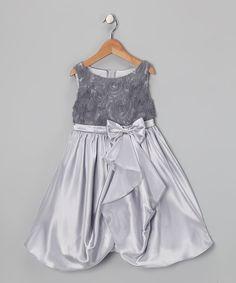 Silver Rosette Gathered Dress - Toddler & Girls by Kid's Dream #zulily #zulilyfinds