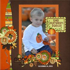 The Pumpkin Patch pg 2 Scrapbook Examples, Scrapbook Sketches, Scrapbook Page Layouts, Scrapbooking Ideas, Baby Scrapbook, Scrapbook Paper Crafts, Scrapbook Cards, Scrapbook Photos, Halloween Scrapbook