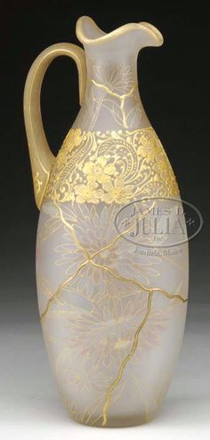 Mt Washington Royal Flemish Handled Ewer - Pastel Mum Decoration - Signed - 13 3/4 inch HOA