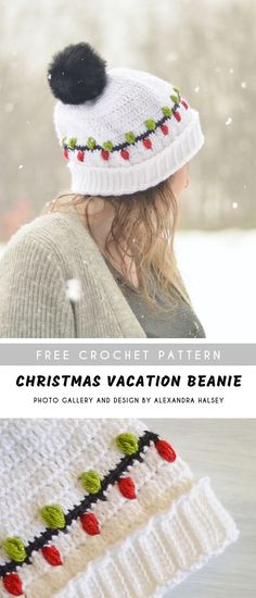 Christmas Vacation Crochet Beanie with Free Pattern - Beanie Hat Free Crochet Christmas Beanie, Crochet Christmas Hats, Holiday Crochet, Crochet Winter, Crochet Beanie Pattern, Crochet Blanket Patterns, Crochet Hats, Hat Patterns, Crochet Blankets
